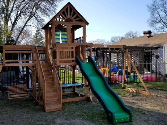 The Sanchez family's new swing set, complete with staircase