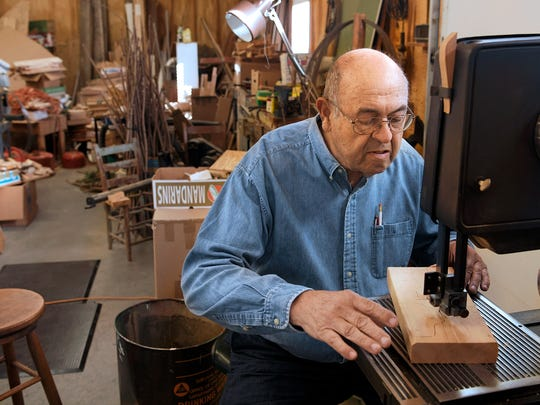 Don Stockton of Columbia makes wooden toys in his wood shop behind his home. He has been making toys for 34 years and selling them at local festivals like Pumpkinfest.