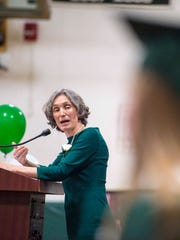 Secretary of the Vermont Agency of Education Rebecca Holcombe addresses the Class of 2017 as she delivers the commencement address during the Winooski High School graduation ceremonies in Winooski on Saturday, June 17, 2017.