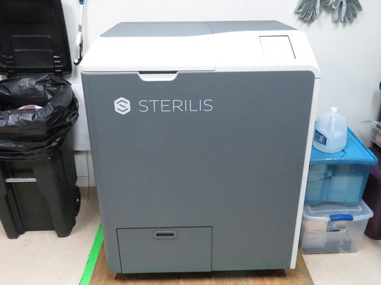 The machine created by Sterilis heats, sterilizes and grinds used needles that STAP later disposes.