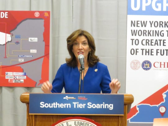 Lt. Gov. Kathy Hochul speaks during an announcement at the Cornell High Energy Synchrotron Source.