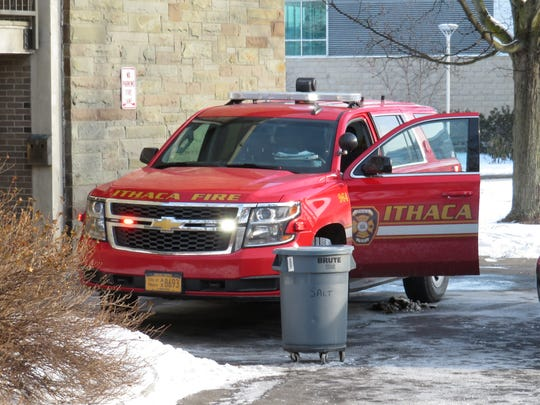 Several apparatuses and public safety vehicles were at the scene of a fire at Ithaca College for about 90 minutes.