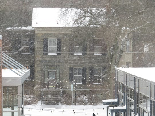 Snow and strong winds were in the area of Green Street