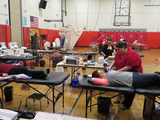 Residents donate blood.