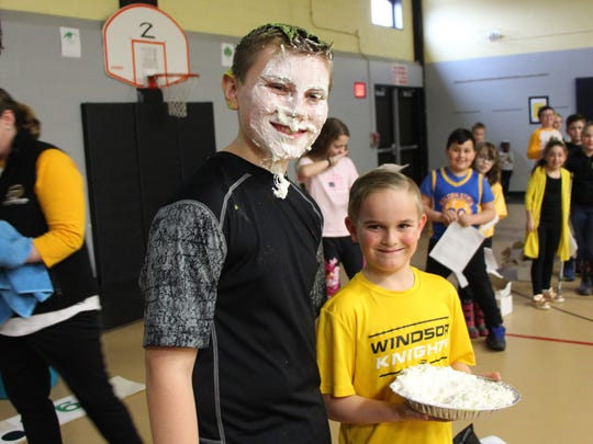 Bell Elementary Student Council president and fifth-grader Ryan Kristof promised he would either have a pie thrown in his face, be hit with a balloon full of slime or kiss a goat if the school's Pennies for Patients campaign was successful.