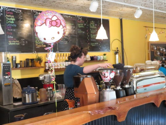 Customers can order coffee, tea, sandwiches, soups