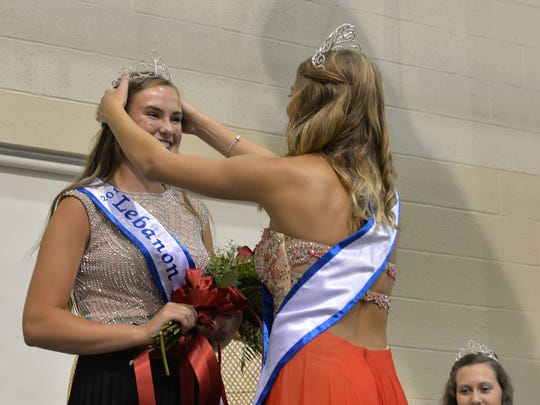 Elizabeth Voight, a senior at Northern Lebanon High School, is crowned 2017 Lebanon Area Fair Queen by the reigning queen Kaitlin Dolan during the coronation ceremony held at the Lebanon Fairgrounds on Saturday evening, July 22, 2017. Also pictured is the alternate queen, Amber Rexrode a 2017 graduate of Annville-Cleona High School.