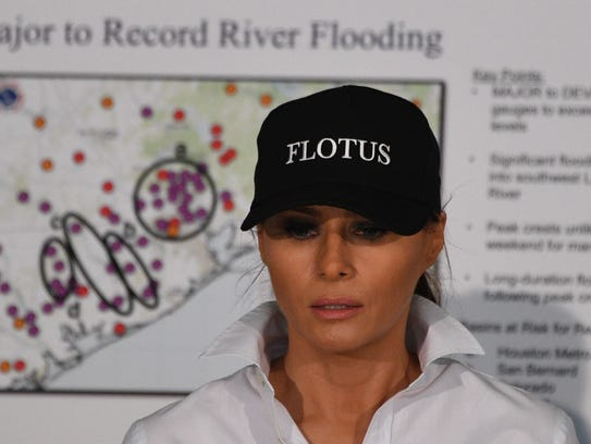 First lady Melania Trump in her FLOTUS cap at briefing