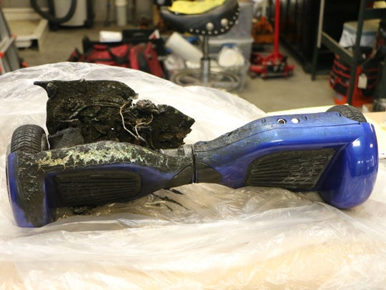 A burned hoverboard. The Consumer Product Safety Commission