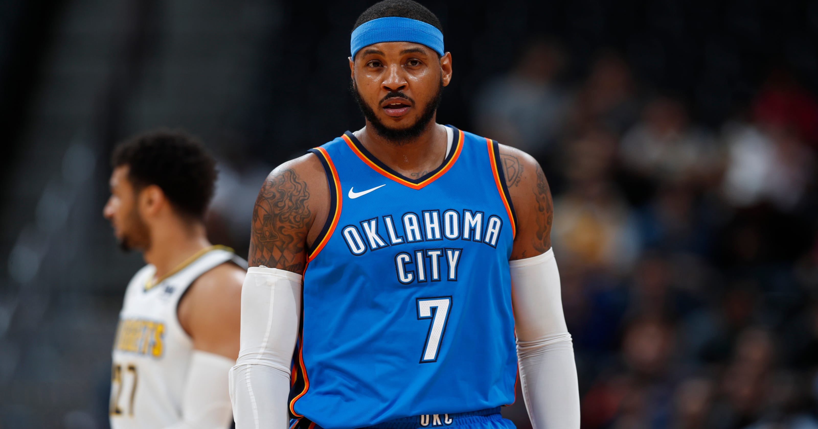 the latest 39b1d 778ee Carmelo Anthony looks back one last time