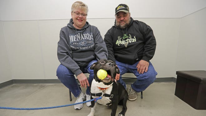 Jeffrey and Tina Baker adopted Drew the dog at Bay Area Humane Society's offsite  center in Pet Supplies Plus in Ashwaubenon.