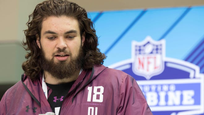 Arizona State Sun Devils offensive lineman Sam Jones speaks to the media during the 2018 NFL Combine in Indianapolis.