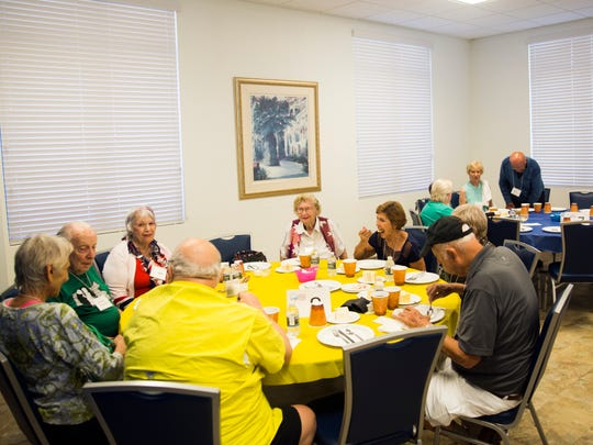 Senior citizens enjoy their lunch Wednesday, Sept. 20, 2017, at the Naples Senior Center. Many of the regular weekly lunchgoers evacuated for Hurricane Irma.