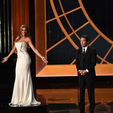 LOS ANGELES, CA - AUGUST 25:  Actress Sofia Vergara (L) and Television Academy CEO Bruce Rosenblum speak onstage at the 66th Annual Primetime Emmy Awards held at Nokia Theatre L.A. Live on August 25, 2014 in Los Angeles, California.  (Photo by Kevin Winter/Getty Images) ORG XMIT: 503306703 ORIG FILE ID: 454168656