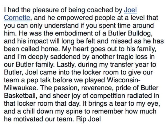 Text from a Facebook post by former Butler teammate Pete Campbell.