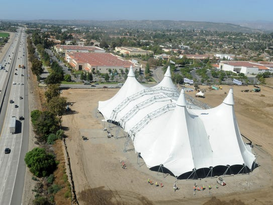 A 12-story-tall tent was erected near Highway 101 and