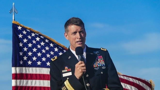 Lt. Gen. Daniel R. Hokanson speaks at the 2015 Intel Oregon International Air Show in Hillsboro, Oregon.