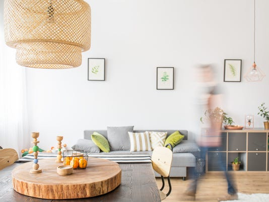 Functional apartment with wood table