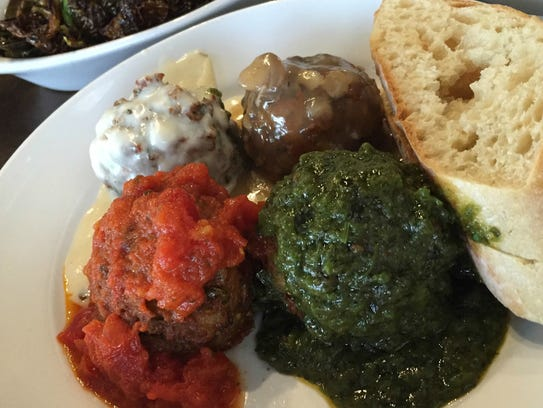 An Italian flag meatball combo at Mimi Blue featuring