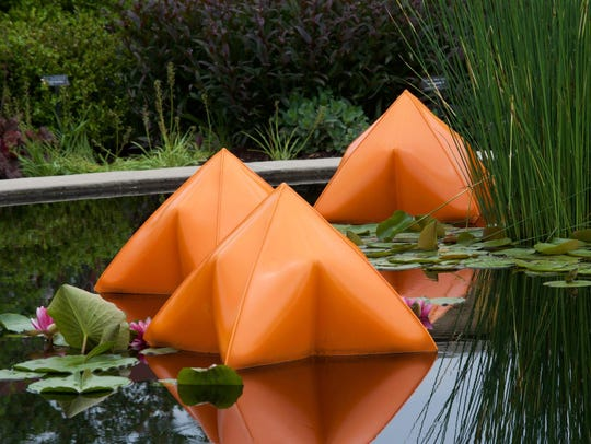"""""""Pods in Pond,"""" metal sculpture by Robert Anderson,"""