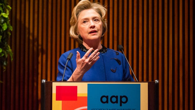 Hillary Clinton talked about her forthcoming memoir before the Association of American Publishers in New York.