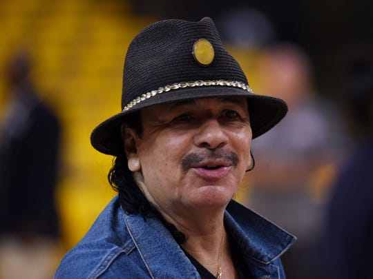 Carlos Santana rehearses prior to Game Two of the 2015 NBA Finals in Oakland, California.