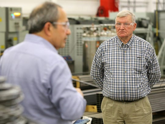 Obion County Mayor Benny McGuire (right) took part in a tour led by Made In America Seating CEO Darius Mir on Tuesday.