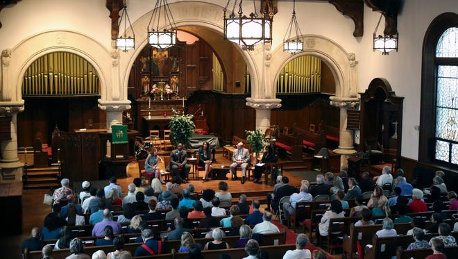 Candidates in the Democratic party primary for Attorney General take part in a forum at the Episcopal Church of Saints Andrew and Matthew in Wilmington.