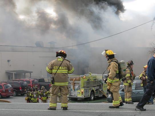 First responders battle a fire at Verla International
