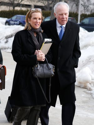 Kerry Kennedy enters the Westchester County Courthouse in White Plains, N.Y., for the second day of her drugged-driving trial on Tuesday, Feb. 25, 2014.