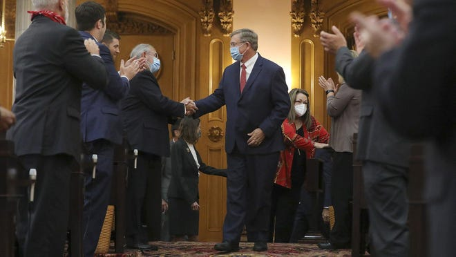 Bob Cupp, R-Lima, center, is congratulated after being elected Speaker of the House at the Ohio Statehouse on Thursday, July 30.