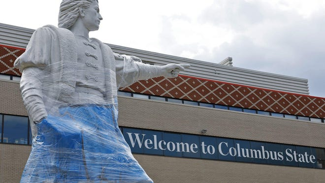 Columbus State announced Tuesday that it will remove the Christopher Columbus statue sometime in the future. The statue had been vandalized last weekend and again overnight after the community college's announcement.