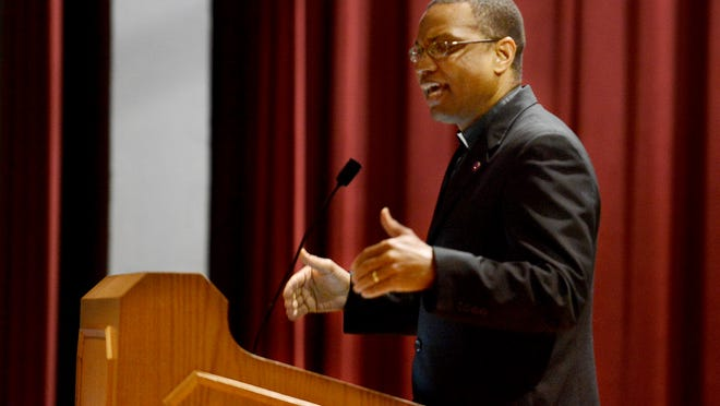 Lane College President Dr. Logan Hampton speaks to a group of students about the message 'Black Lives Matter' during a special chapel program Wednesday.