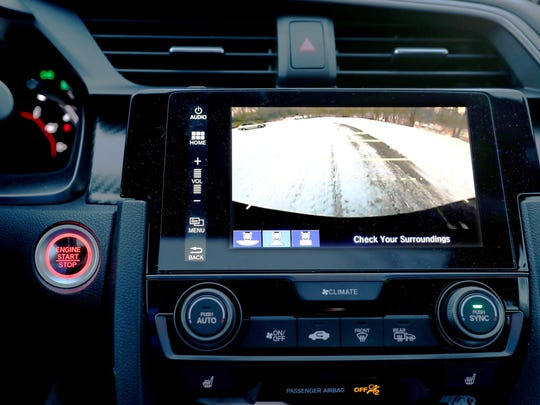 The rearview backup camera on a 2017 Honda Civic Si in Commerce Township on Wednesday, Jan. 17, 2018.