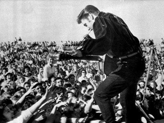 Elvis Presley returned triumphantly to his hometown on Sept. 26, 1956, to perform at the Mississippi-Alabama Fair and Dairy Show in Tupelo, Miss.