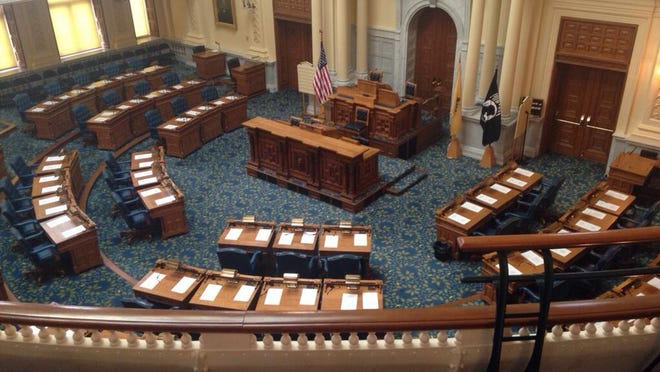 A photo of the Assembly chambers taken at the quorum call on July 11, 2014. (Michael Symons/Asbury Park Press)