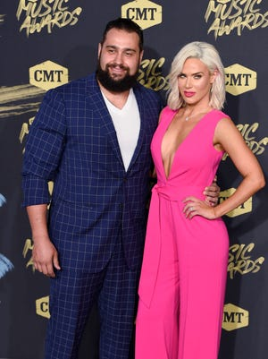 Wrestlers Lana and Rusev on the red carpet at the CMT Awards on June 6 in Nashville.