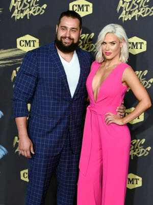 June 6, 2018; Nashville, TN, USA; Wrestlers Lana and Rusev on the red carpet prior to the CMT Music Awards at Bridgestone Arena. Mandatory Credit: George Walker IV/The Tennessean via USA TODAY NETWORK