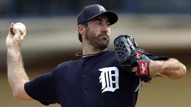 Tigers pitcher Justin Verlander throws in the first inning Sunday at Lakeland, Fla.