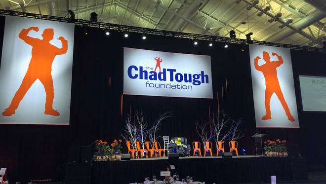 The stage at Saturday's ChadTough Foundation gala in Ann Arbor.