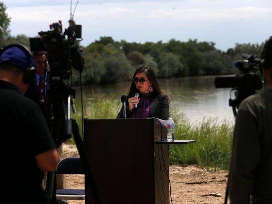 Navajo Nation Attorney General Ethel Branch talks during