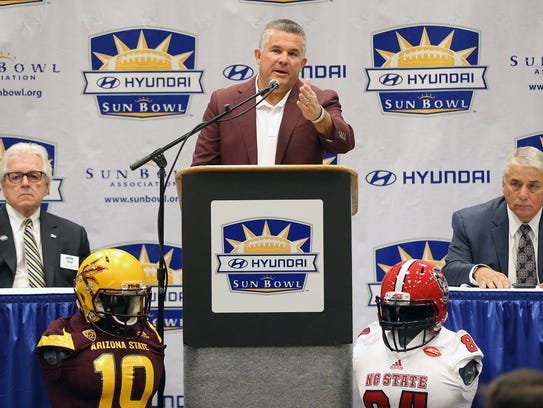 Arizona State head coach Todd Graham speaks to the