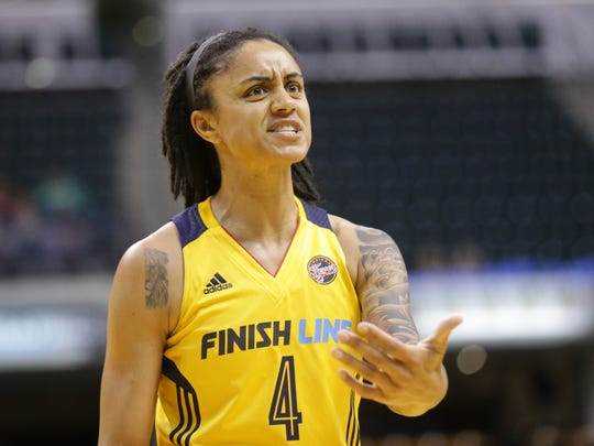 Indiana Fever forward Candice Dupree (4) reacts to