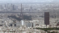 Te Eiffel Tower and Montparnasse Tower seen from the