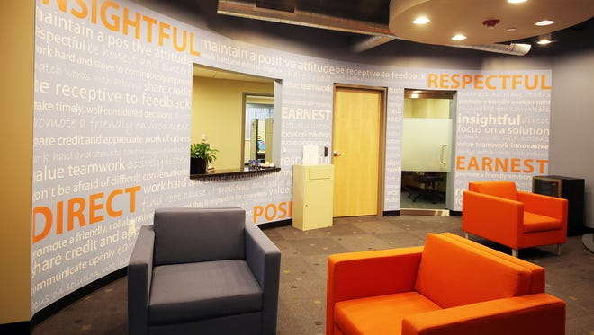 The lobby of Credit Acceptance in Southfield.