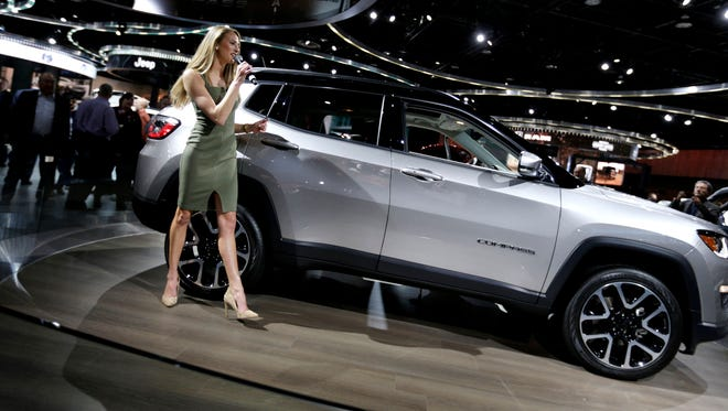 Jeep narrator Victoria Fary talking about the 2017 Jeep Compass Limited at the 2017 North American International Auto show at Cobo Center in Detroit on Wednesday, Jan. 11, 2017.