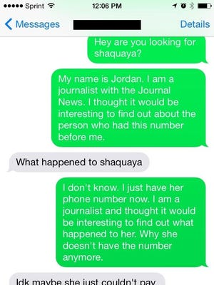 A screenshot of a conversation with one of the woman's acquaintances.