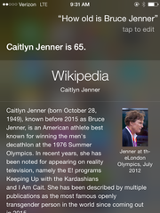 When you ask Siri a question about Bruce Jenner it