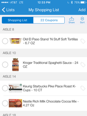 Kroger's app stores your shopping list and tells you the aisle for each item.