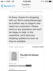 Everlane using Facebook Messenger for commerce,